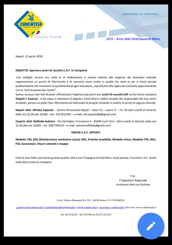 Grandi novità:apertura CAF in Campania!