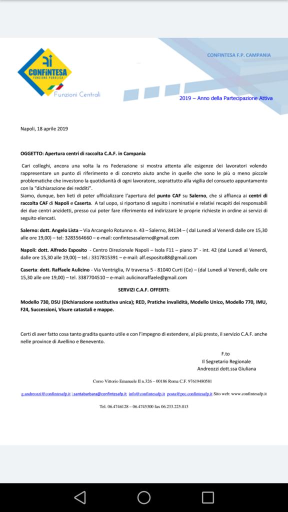 Apertura CAF anche a Salerno!