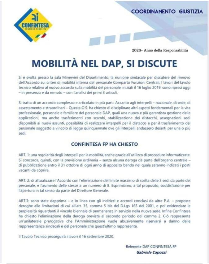 MOBILITA' NEL DAP, SI DISCUTE