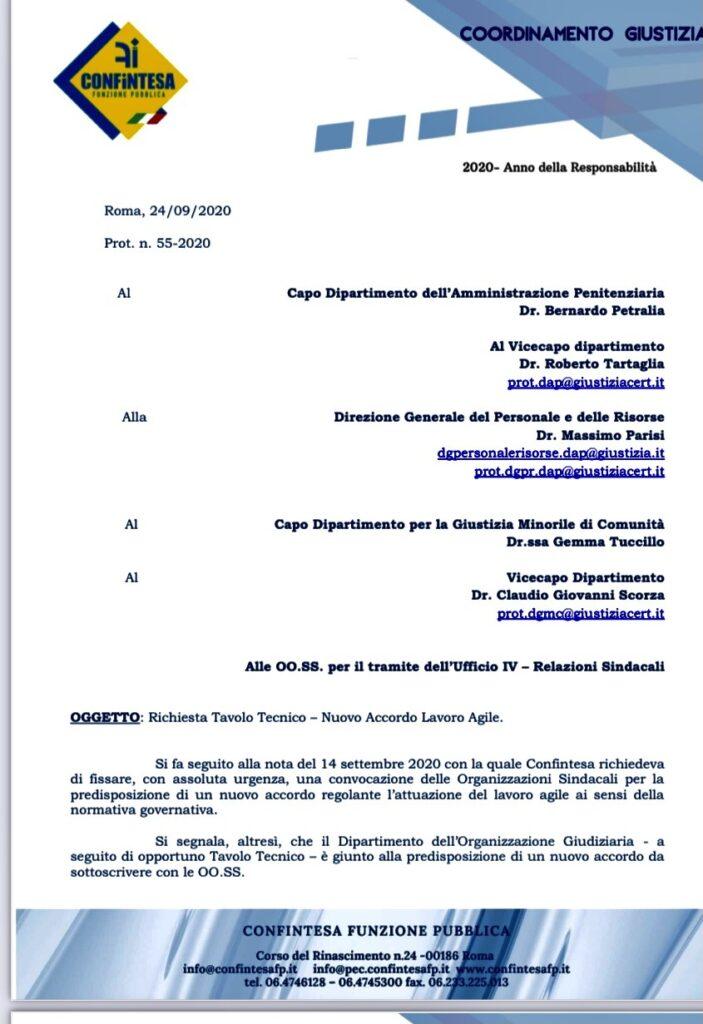 Richiesta Tavolo Tecnico – Nuovo Accordo Lavoro Agile per DAP e DGMC