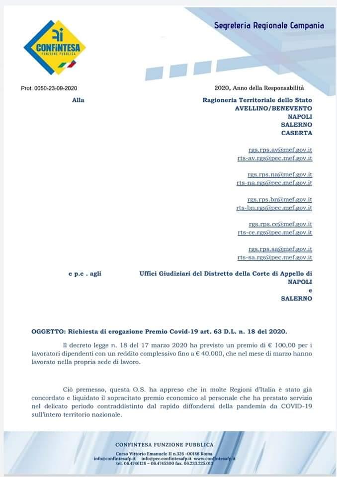 Richiesta di erogazione Premio Covid-19 art. 63 D.L. n. 18 del 2020